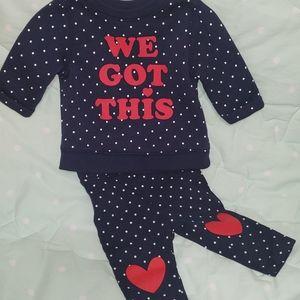 3-6m baby girl matching sweat suit